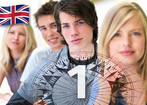 patru tineri cu aspect inteligent și numărul 1