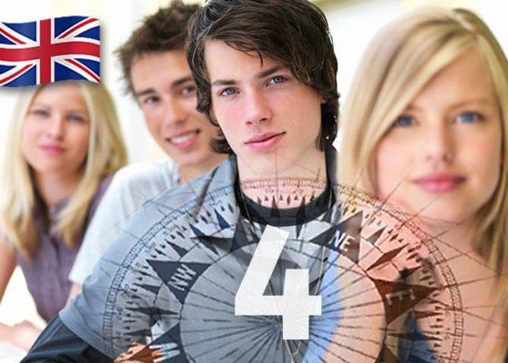 patru tineri cu aspect inteligent și numărul 4