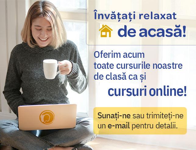 Tânăra care învață online confortabil acasă