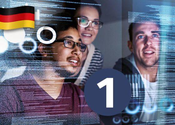 Trei tineri care se uită la un ecran transparent